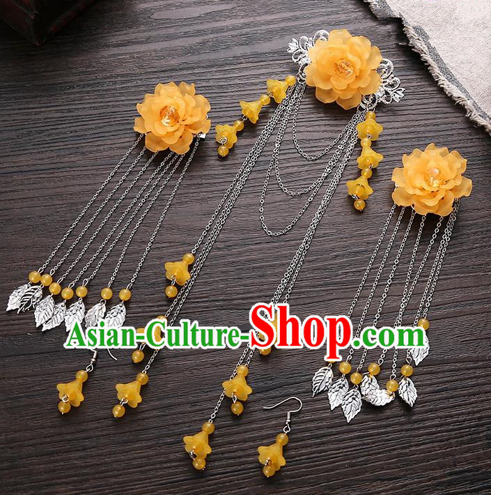 Handmade Asian Chinese Classical Hair Accessories Ancient Orange Flower Hair Stick Hairpins for Women