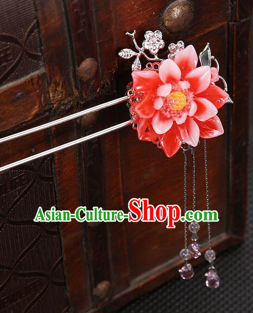 Handmade Asian Chinese Classical Hair Accessories Red Flower Hair Clip Ancient Hanfu Hairpins for Women