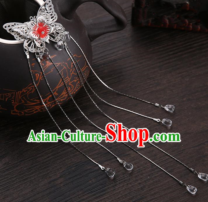Handmade Asian Chinese Classical Hair Accessories Red Butterfly Hair Stick Ancient Hanfu Hairpins for Women
