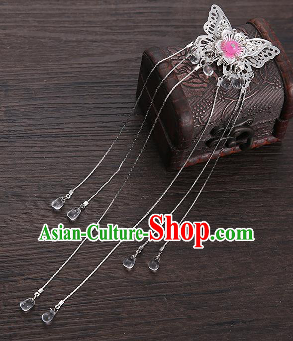 Handmade Asian Chinese Classical Hair Accessories Pink Butterfly Hair Stick Ancient Hanfu Hairpins for Women