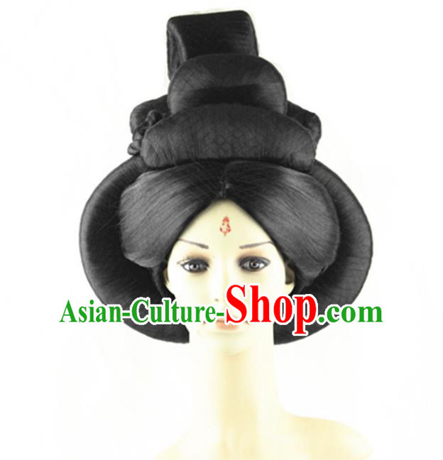 Asian Chinese Handmade Palace Lady Classical Hair Accessories Wig Sheath Chignon for Women
