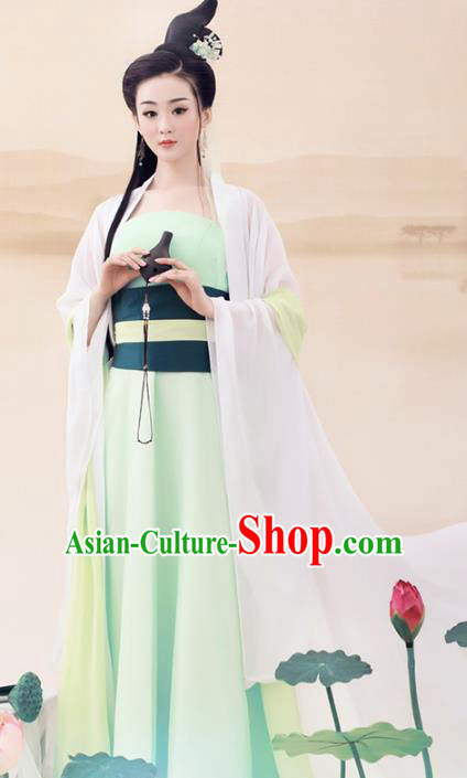 Traditional Chinese Tang Dynasty Fairy Dance Costume, China Ancient Palace Lady Clothing and Headpiece Complete Set