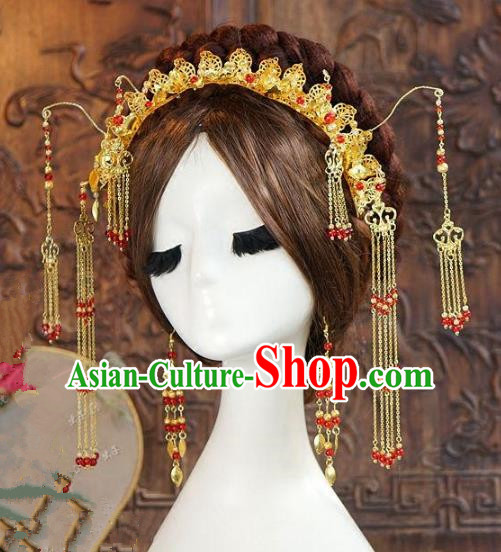 Asian Chinese Ancient Handmade Classical Hair Accessories Hairpins Xiuhe Suit Headdress for Women