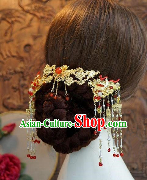 Asian Chinese Ancient Handmade Classical Hair Accessories Hairpins Tassel Step Shake Xiuhe Suit Headdress for Women