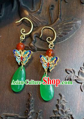 Asian Chinese Traditional Handmade Jewelry Accessories Bride Blueing Butterfly Earrings for Women
