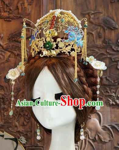 Asian Chinese Ancient Handmade Classical Hair Accessories Hairpins Blueing Phoenix Coronet Xiuhe Suit Headdress for Women