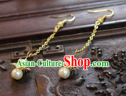 Asian Chinese Traditional Handmade Jewelry Accessories Bride Golden Lotus Earrings for Women