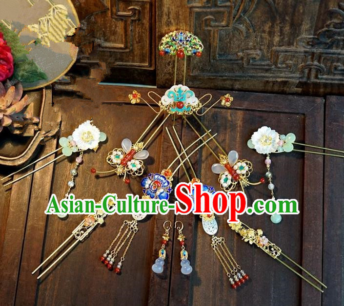 Chinese Ancient Handmade Classical Hair Accessories Blueing Hairpins Bride Headdress for Women