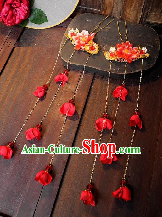 Chinese Ancient Handmade Classical Wedding Hair Accessories Xiuhe Suit Bride Tassel Hairpins for Women
