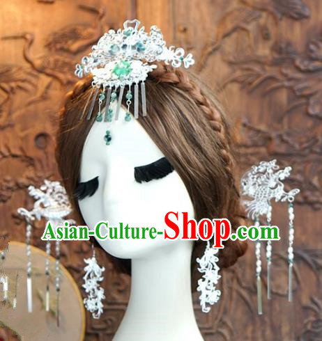 Chinese Handmade Classical Hair Accessories Ancient Palace Lady Step Shake Hairpins Complete Set for Women