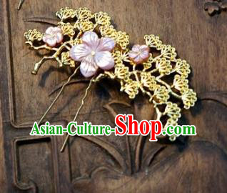 Chinese Handmade Classical Hair Accessories Ancient Palace Lady Hairpins Shell Hair Comb for Women
