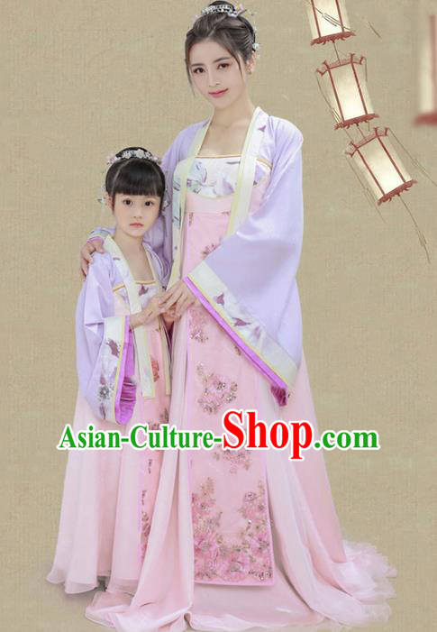 Traditional Chinese Tang Dynasty Mother-daughter Costume, China Ancient Imperial Princess Embroidered Dress for Women