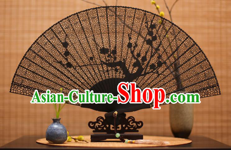 Traditional Chinese Crafts Ebony Folding Fan Carving Wintersweet Sandalwood Fans for Women