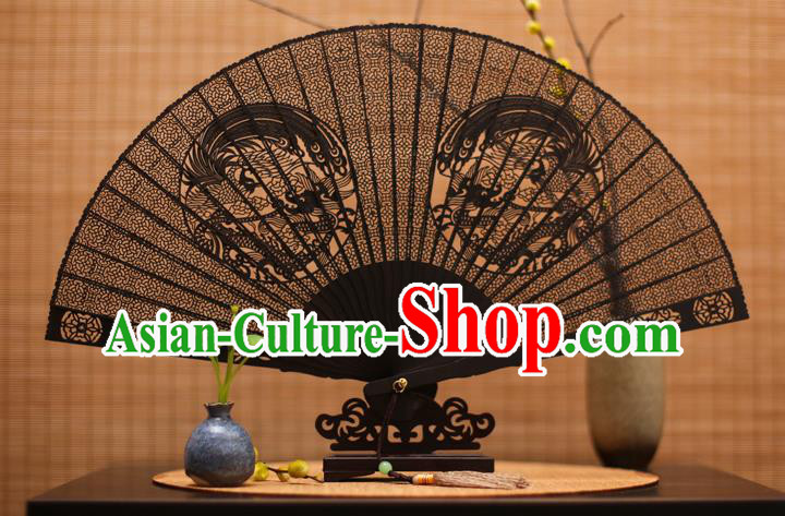 Traditional Chinese Crafts Ebony Folding Fan Carving Dragons Sandalwood Fans for Women