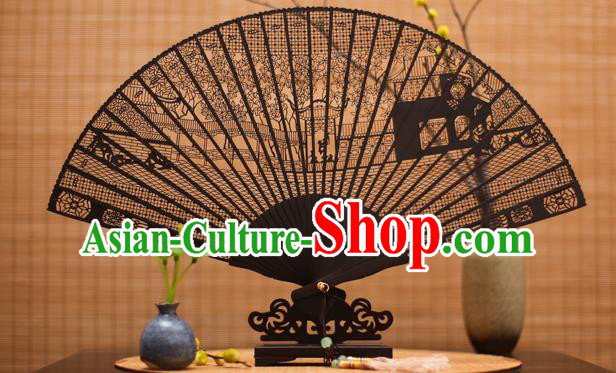 Traditional Chinese Crafts Ebony Folding Fan Carving Court Sandalwood Fans for Women
