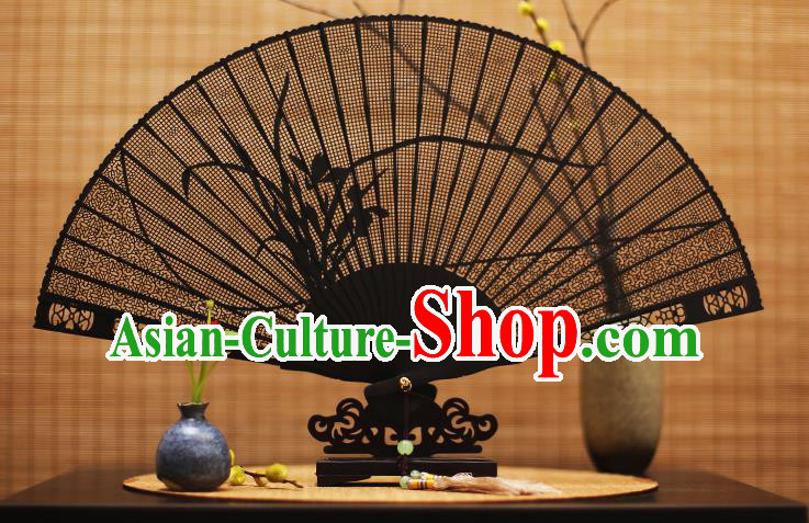 Traditional Chinese Crafts Ebony Folding Fan Carving Orchid Sandalwood Fans for Women