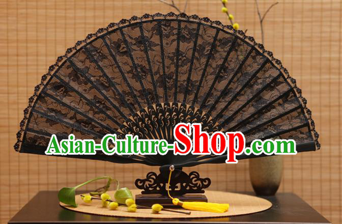 Traditional Chinese Crafts Black Lace Folding Fan Hollow Out Flowers Fans for Women