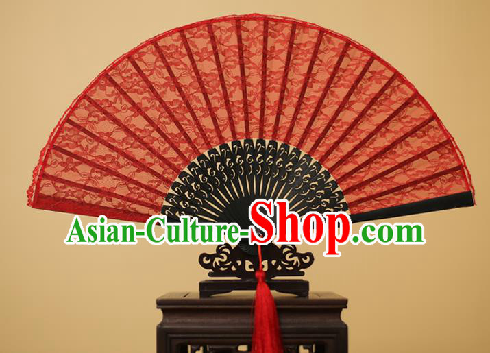 Traditional Chinese Crafts Red Lace Folding Fan Hollow Out Flowers Fans for Women