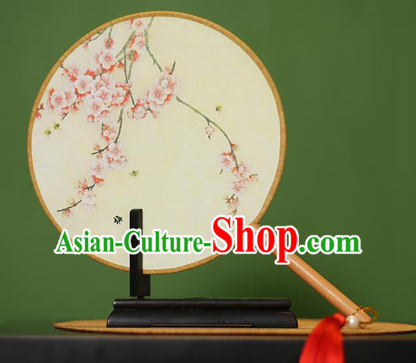 Traditional Chinese Crafts Painting Wintersweet Rosewood Round Fan, China Palace Fans Princess Silk Circular Fans for Women