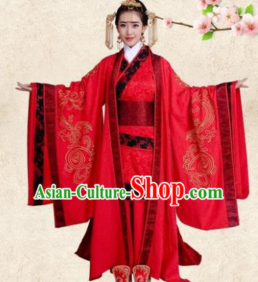 Traditional Chinese Ancient Imperial Empress Wedding Costume, China Han Dynasty Bride Trailing Embroidered Hanfu Clothing for Women