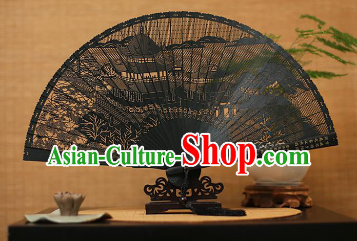 Traditional Chinese Crafts Black Sandalwood Folding Fan, Chinese Hollow Out Palace Fans Bamboo Fans for Women