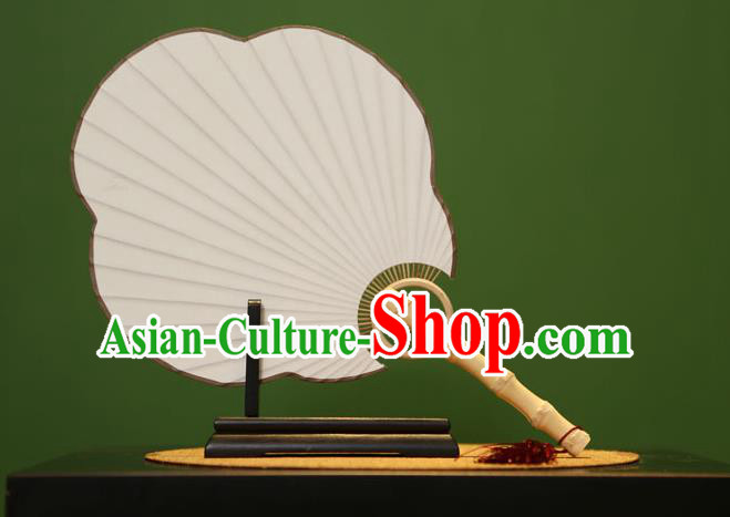 Traditional Chinese Crafts Malus Spectabilis Xuan Paper Fan, Chinese Art Paper Palace Fans Bamboo Handle Fans for Women