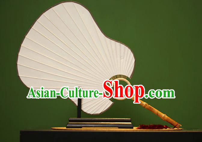 Traditional Chinese Crafts Palm-Leaf Xuan Paper Fan, Chinese Art Paper Palace Fans Bamboo Handle Fans for Women
