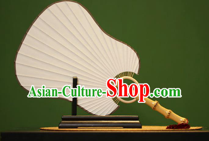 Traditional Chinese Crafts Xuan Paper Palm-Leaf Fan, Chinese Art Paper Palace Fans Bamboo Handle Fans for Women