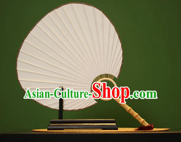 Traditional Chinese Crafts White Xuan Paper Fan, Chinese Art Paper Palace Fans Bamboo Handle Fans for Women
