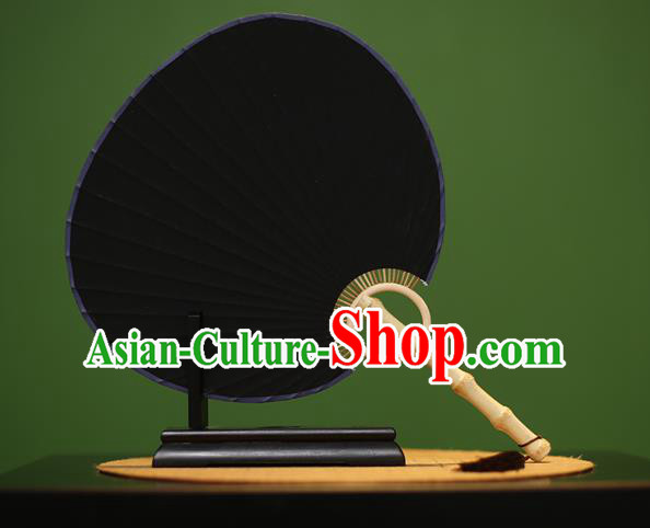 Traditional Chinese Crafts Black Xuan Paper Fan, Chinese Art Paper Palace Fans Bamboo Handle Fans for Women