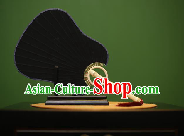 Traditional Chinese Crafts Black Palm-leaf Xuan Paper Fan, Chinese Art Paper Palace Fans Bamboo Handle Fans for Women