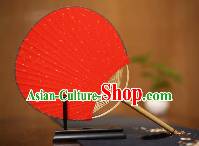 Traditional Chinese Crafts Red Xuan Paper Fan, Chinese Art Paper Palace Fans Bamboo Handle Fans for Women