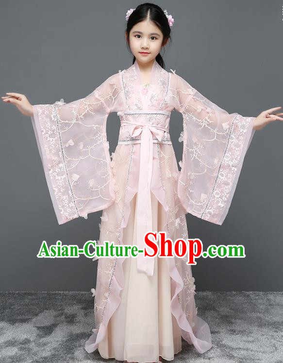 Traditional Chinese Tang Dynasty Imperial Concubine Costume, China Ancient Fairy Hanfu Trailing Dress Clothing for Kids