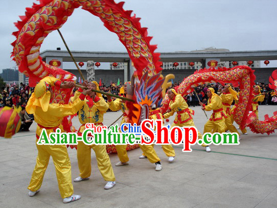 200 Foot Long Red Peking Dragon Dance Costumes Complete Set