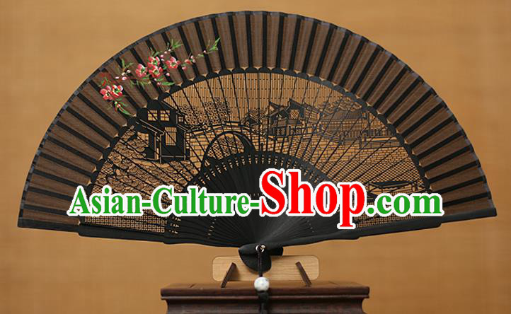 Traditional Chinese Crafts Hand Painting Wintersweet Folding Fan, China Handmade Black Silk Fans for Women