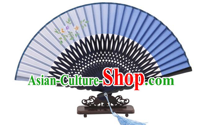 Traditional Chinese Crafts Hand Painting Flowers Folding Fan, China Handmade Blue Silk Bamboo Fans for Women