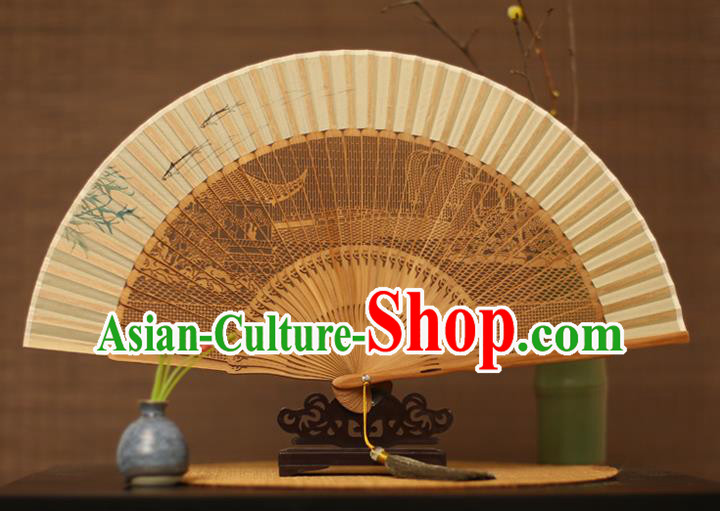 Traditional Chinese Crafts Hand Painting Willow Branch Silk Folding Fan, China Handmade Hollow Out Bamboo Fans for Women