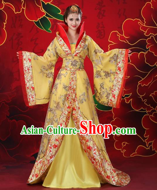 Traditional Chinese Tang Dynasty Imperial Concubine Costume, China Ancient Palace Lady Hanfu Trailing Embroidered Clothing for Women