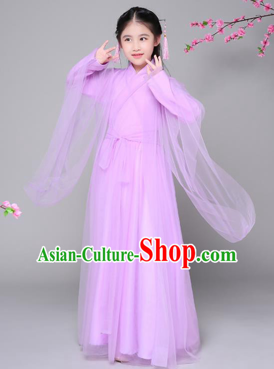 Traditional Chinese Ancient Princess Fairy Purple Clothing, China Han Dynasty Palace Lady Hanfu Dress Costume for Kids