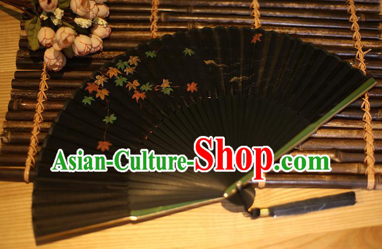 Traditional Chinese Crafts Printing Maple Leaf Classical Folding Fan, China Handmade Black Silk Fans for Women