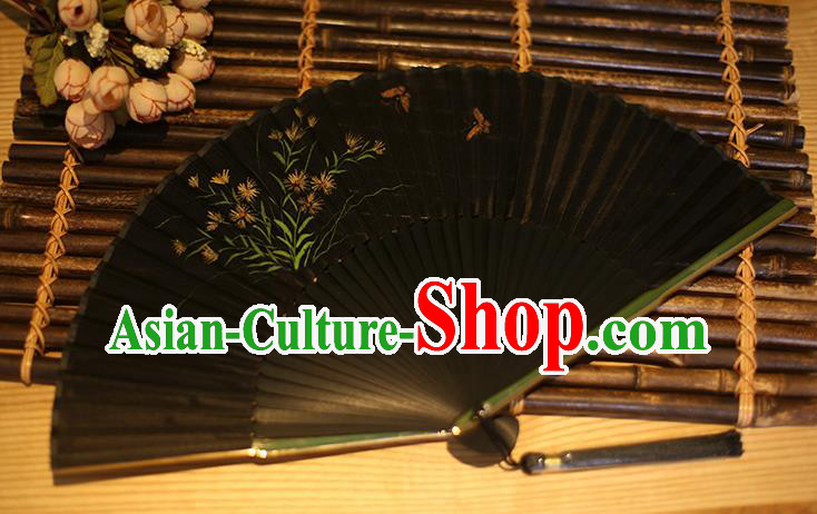 Traditional Chinese Crafts Printing Orchid Classical Folding Fan, China Handmade Black Silk Fans for Women