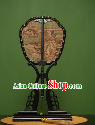 Traditional Chinese Crafts Sandalwood Palace Fan, China Princess Red Rosewood Fans for Women