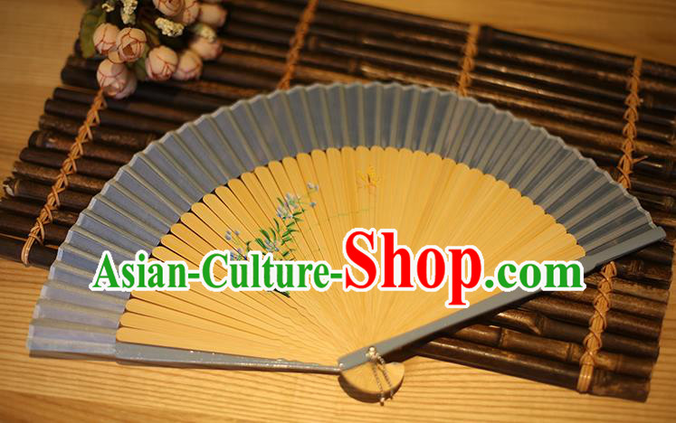 Traditional Chinese Crafts Printing Flowers Classical Folding Fan, China Handmade Grey Silk Fans for Women