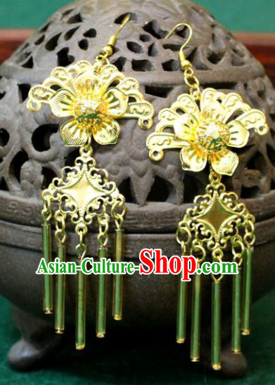 Traditional Chinese Handmade Jewelry Accessories Bride Golden Tassel Earrings Hanfu Xiuhe Suit Eardrop for Women