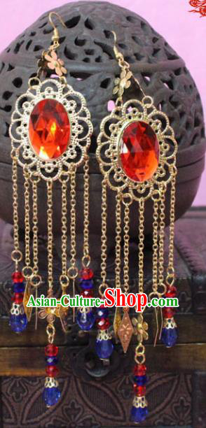 Traditional Chinese Handmade Jewelry Accessories Xiuhe Suit Bride Crystal Tassel Earrings Hanfu Eardrop for Women