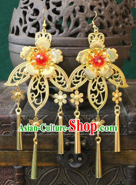 Traditional Chinese Handmade Jewelry Accessories Xiuhe Suit Bride Golden Flowers Earrings Hanfu Eardrop for Women