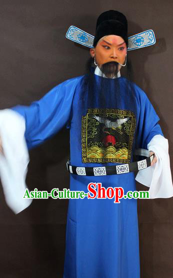 Traditional China Beijing Opera County Magistrate Costume, Chinese Peking Opera Gwanbok Embroidered Robe