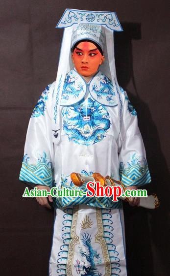 Traditional China Beijing Opera Takefu Costume, Chinese Peking Opera Imperial Bodyguard Embroidered White Gwanbok