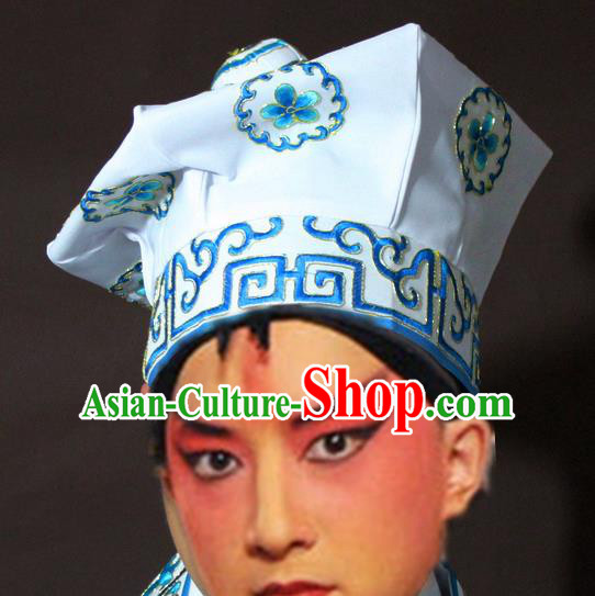 Traditional China Beijing Opera Takefu White Hats, Chinese Peking Opera Imperial Bodyguard Embroidered Headwear