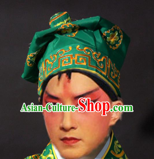 Traditional China Beijing Opera Takefu Green Hats, Chinese Peking Opera Imperial Bodyguard Embroidered Headwear